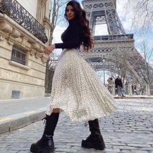 Zara Wrinkled Effect Polka Dot Skirt